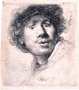 Rembrandt-Self-portrait-in-a-cap-with-eyes-wide-open-face-etching-burin-1630-artwork-cold-chisel-black-white-art-engraving