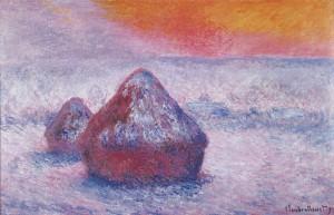 Monet Grainstacks Sunset Snow Effect