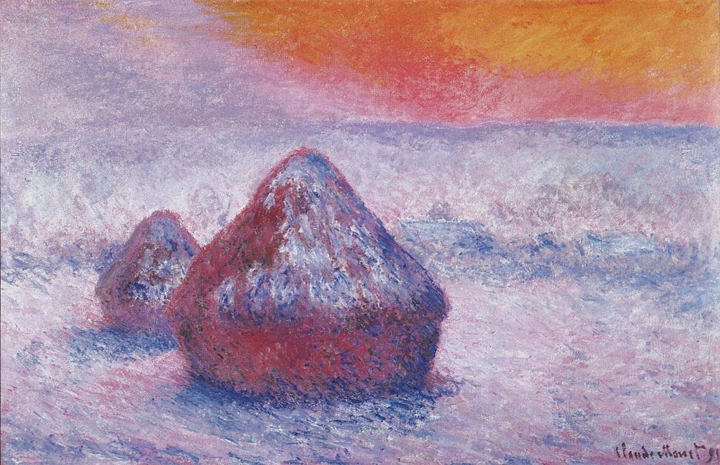 art critique grainstacks by claude monet Claude monet (b 1840-d 1926) is the artist most closely associated with the term impressionism his paintings are among the most frequently viewed on the internet, ranking fourth after picasso, van gogh, and leonardo.