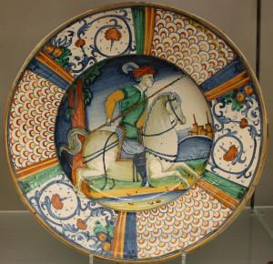 Maiolica Dish_with_man_on_horseback
